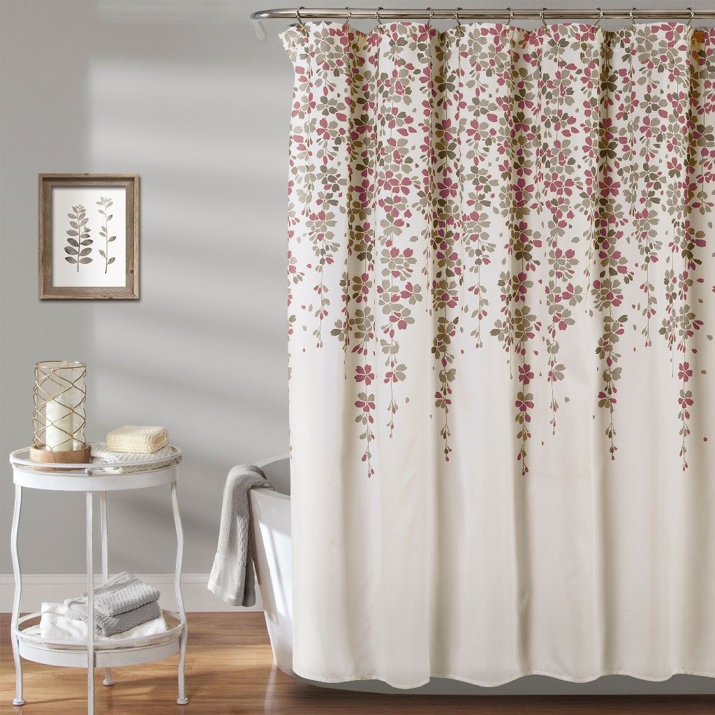 Weeping Flower Shower Curtain Purple Gray 72x72 Lush Decor