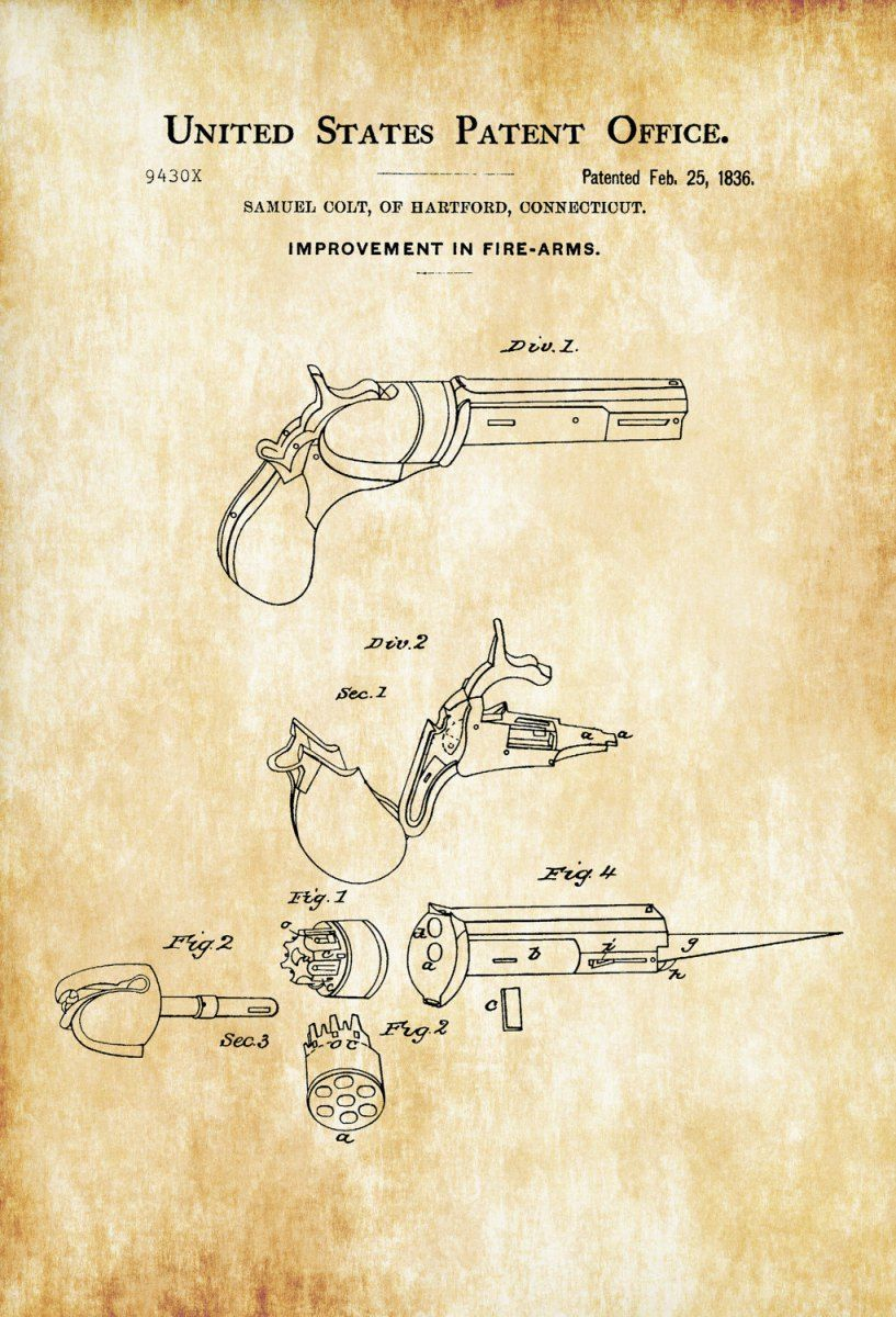 First Colt Firearm Patent 1836 – Patent Print, Wall Decor, Gun Art ...