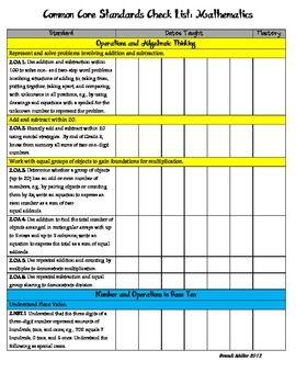 Second Grade Common Core Standards At-Glance and Checklist (ELA ...