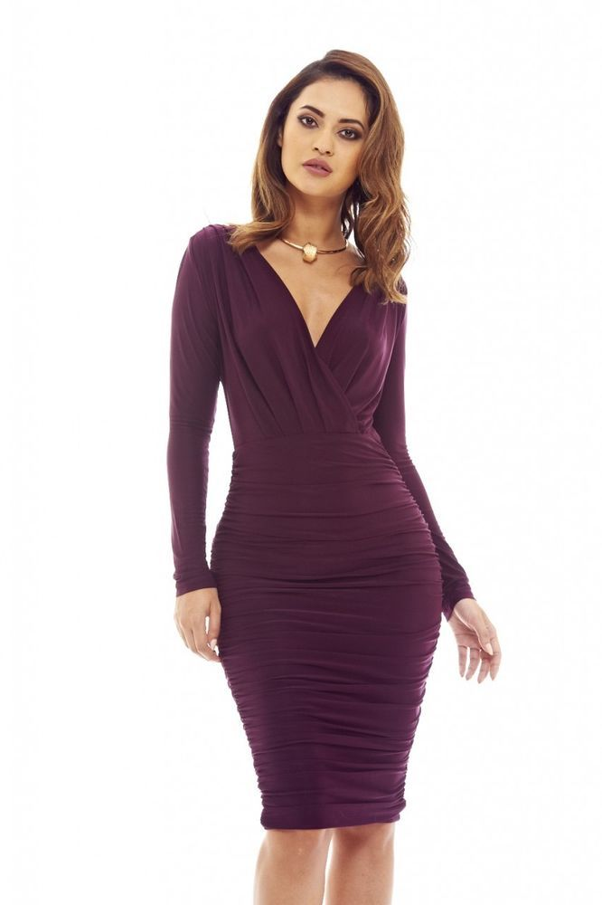 2d2688c8526a AX Paris Womens Plum V Front Slinky Midi Dress Glamorous Stylish Fashion