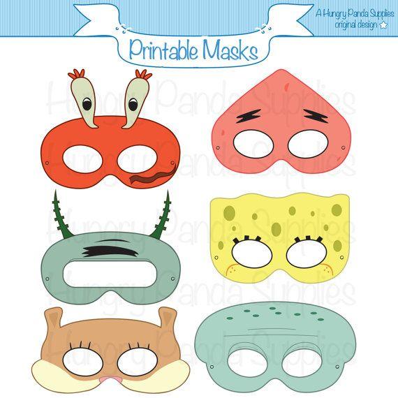 Esponja máscaras para imprimir, máscara de calamares, estrellas de mar máscara, máscara ardilla, dibujos animados máscaras, máscara de cangrejo, bajo el mar, ardilla, plancton, calamar, cangrejo