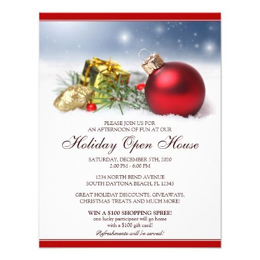 Festive Holiday Open House Invitations Template  Open House