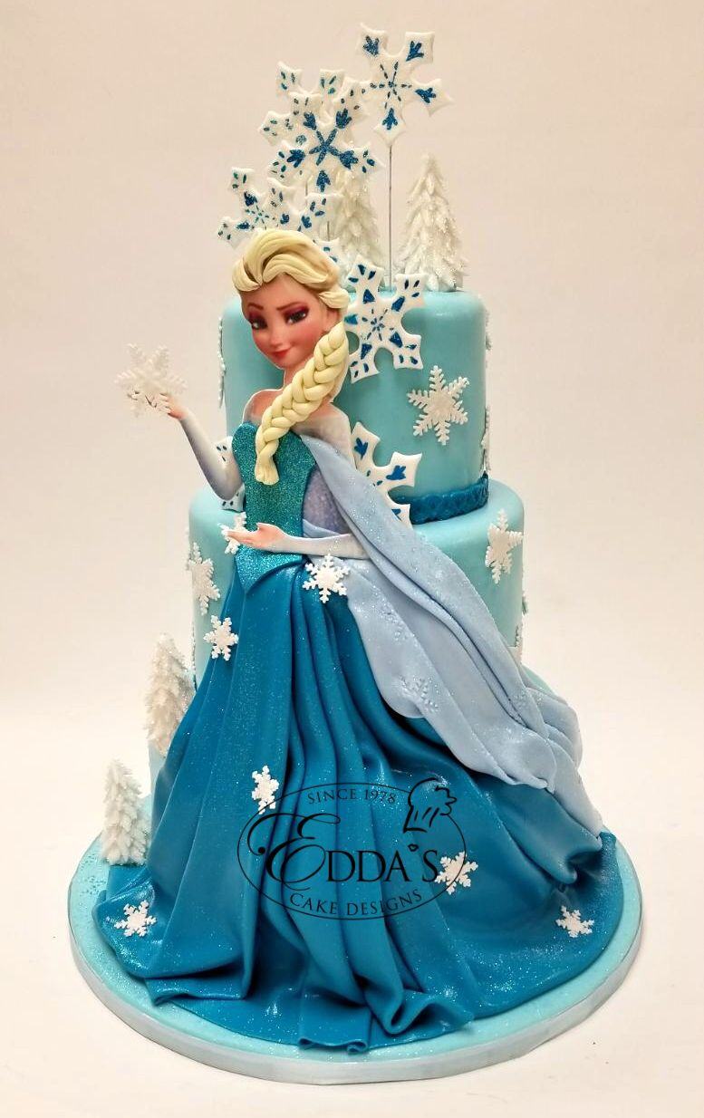 Princesselsa Is Ready For The Party Frozen Eddascakes Http Eddascakes Com Frozen Birthday Cake Princess Birthday Cake Dress Cake