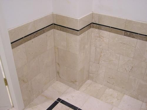 Wainscot Tile Stone Tile Wainscot In A Public Bathroomhttpwww