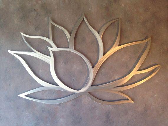 Brushed Lotus Flower Metal Wall Art   Lotus Metal Art   Home Decor   Metal  Art   Wall Art   Flower Wall Art  Silver Art   Metal Wall Decor