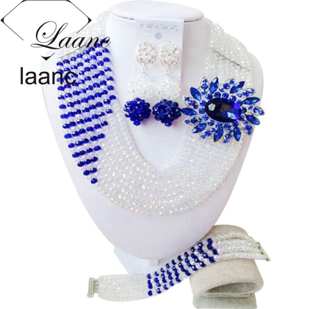 Mode Clear AB Koningsblauw Vrouwen Stijlvolle Kristal Kralen Sieraden Accessoires Nigeriaanse bruiloft afrikaanse kralen sieraden set ABD011