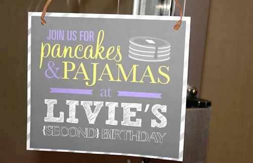 Pancakes in your pjs bday party idea - love the bed table and menu!