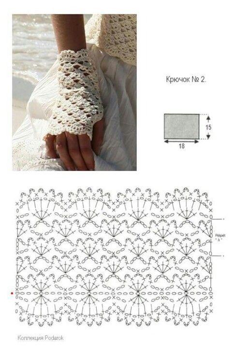 Mitones calados de la web.   Crochet.   Pinterest   Mitones ...