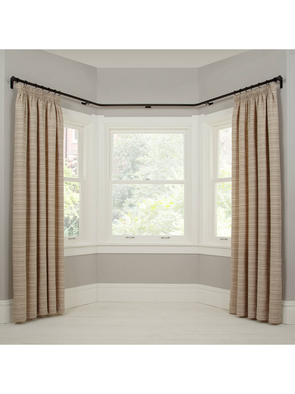 John Lewis Partners Made To Measure Classic Bay Bend Curtain Pole Disc Finial Brass Toned Steel Curtain Poles Bay Window Living Room Window Treatments Living Room