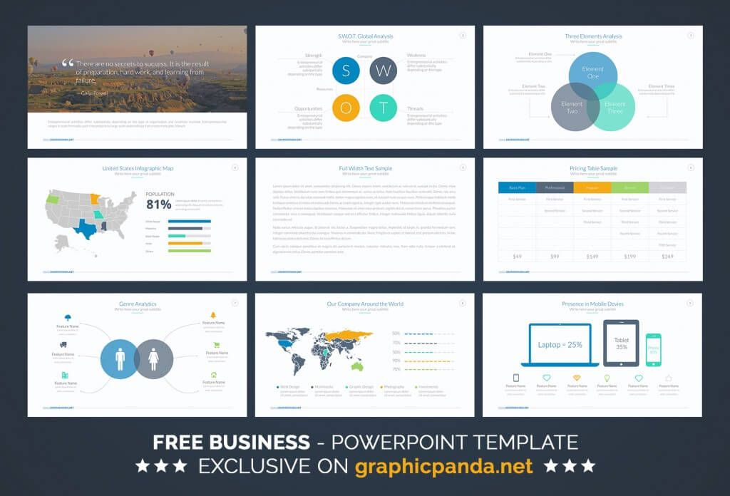 free business powerpoint template | ide presentasi | pinterest, Modern powerpoint