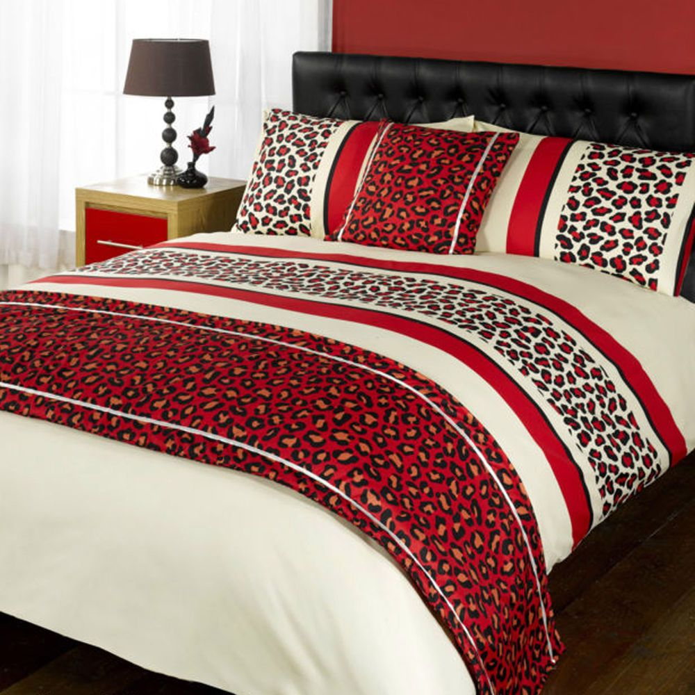 Leopard print and red bedding - Leopard Print Red Black Duvet Quilt Set Bed In A Bag Cushion Cover Runner
