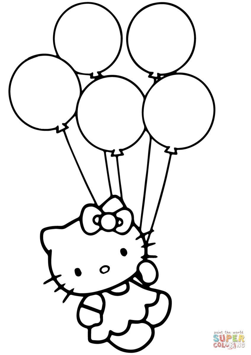 Birthday Balloons Coloring Pages Balloon Coloring Pages Hello Kitty With Balloons Coloring Kitty Coloring Hello Kitty Coloring Hello Kitty Colouring Pages