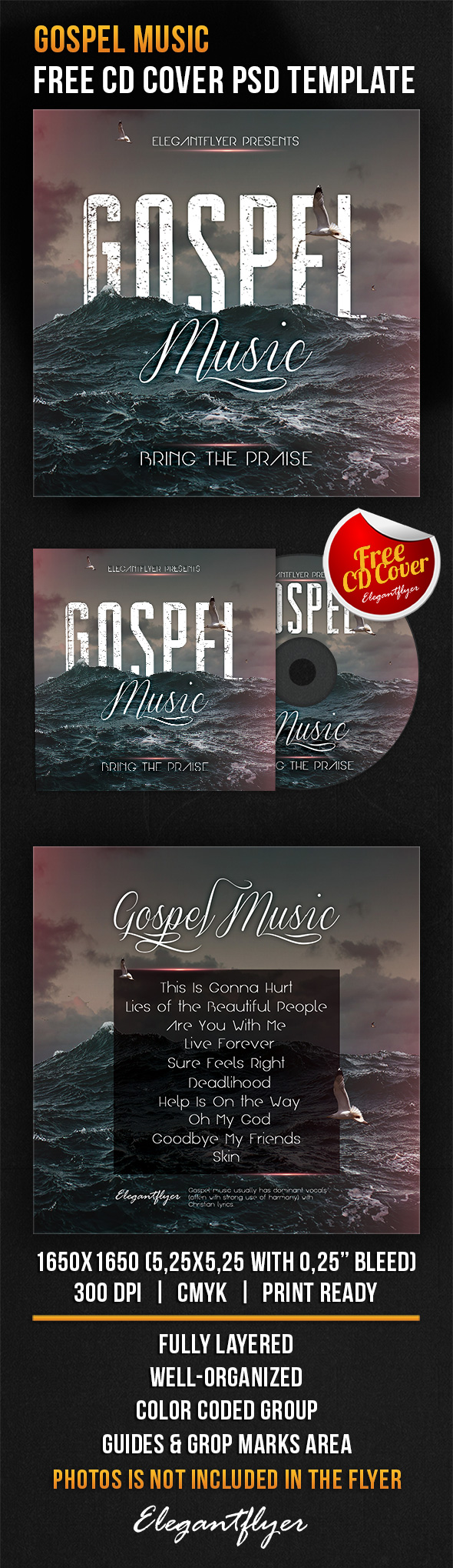 Gospel Music – Free CD Cover PSD Template | Free cd covers, Cd cover ...