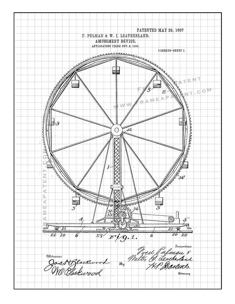 Ferris Wheel Patent Print Black Grid 5x7 Rides Ferris Wheel