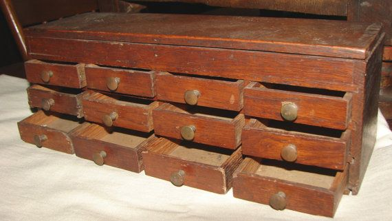 Wonderful Old Rustic 12 Drawer Wooden Jewelers Parts Cabinet W Flip Top Storage I Love Etsy