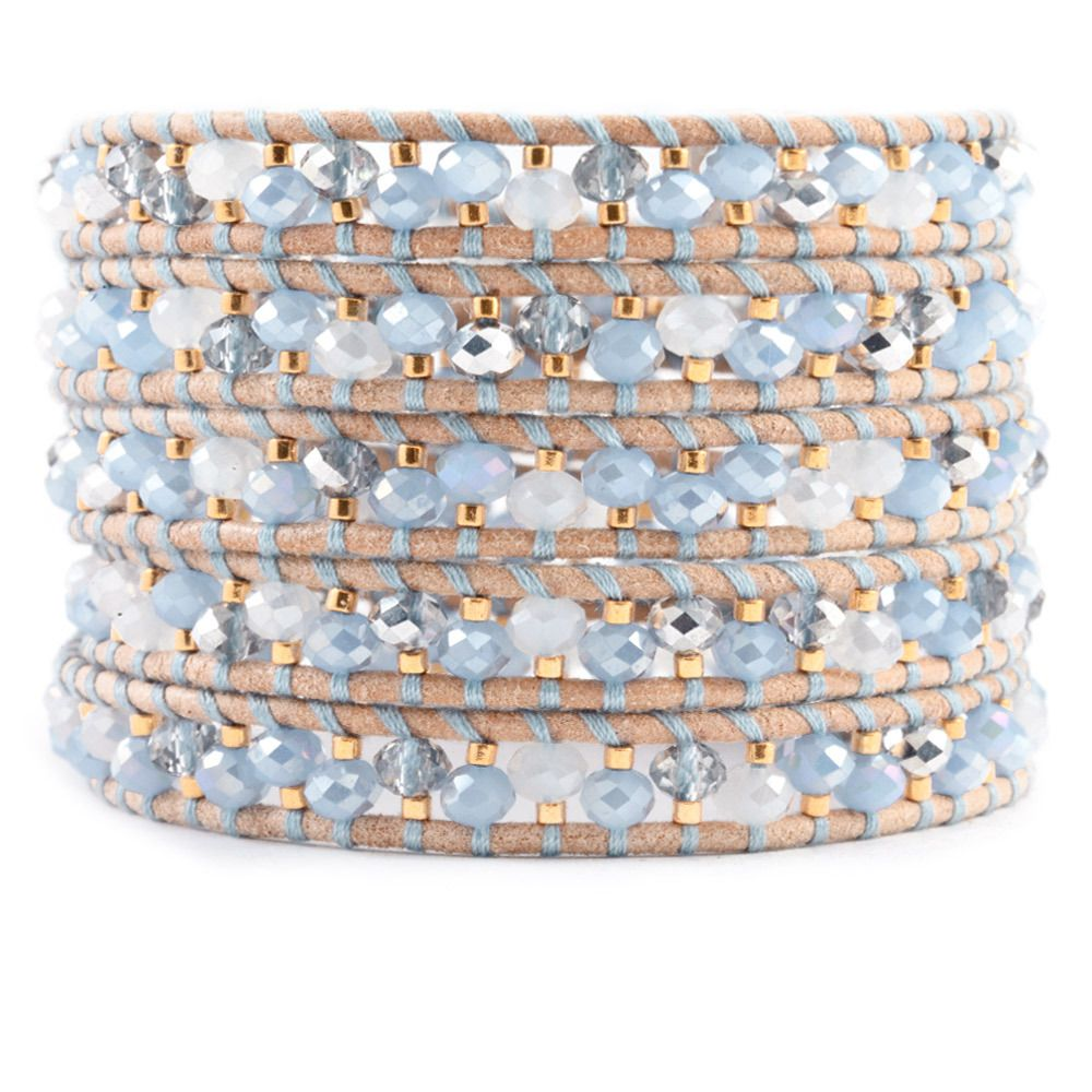 Chan Luu Leather And Gold-tone Beaded Wrap Bracelet - Beige A9s4dI