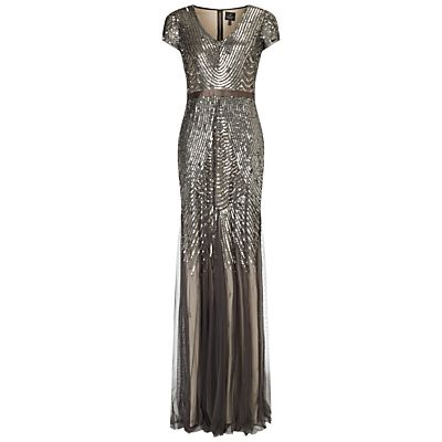Adrianna Papell Cap Sleeve Beaded Gown, Smoke