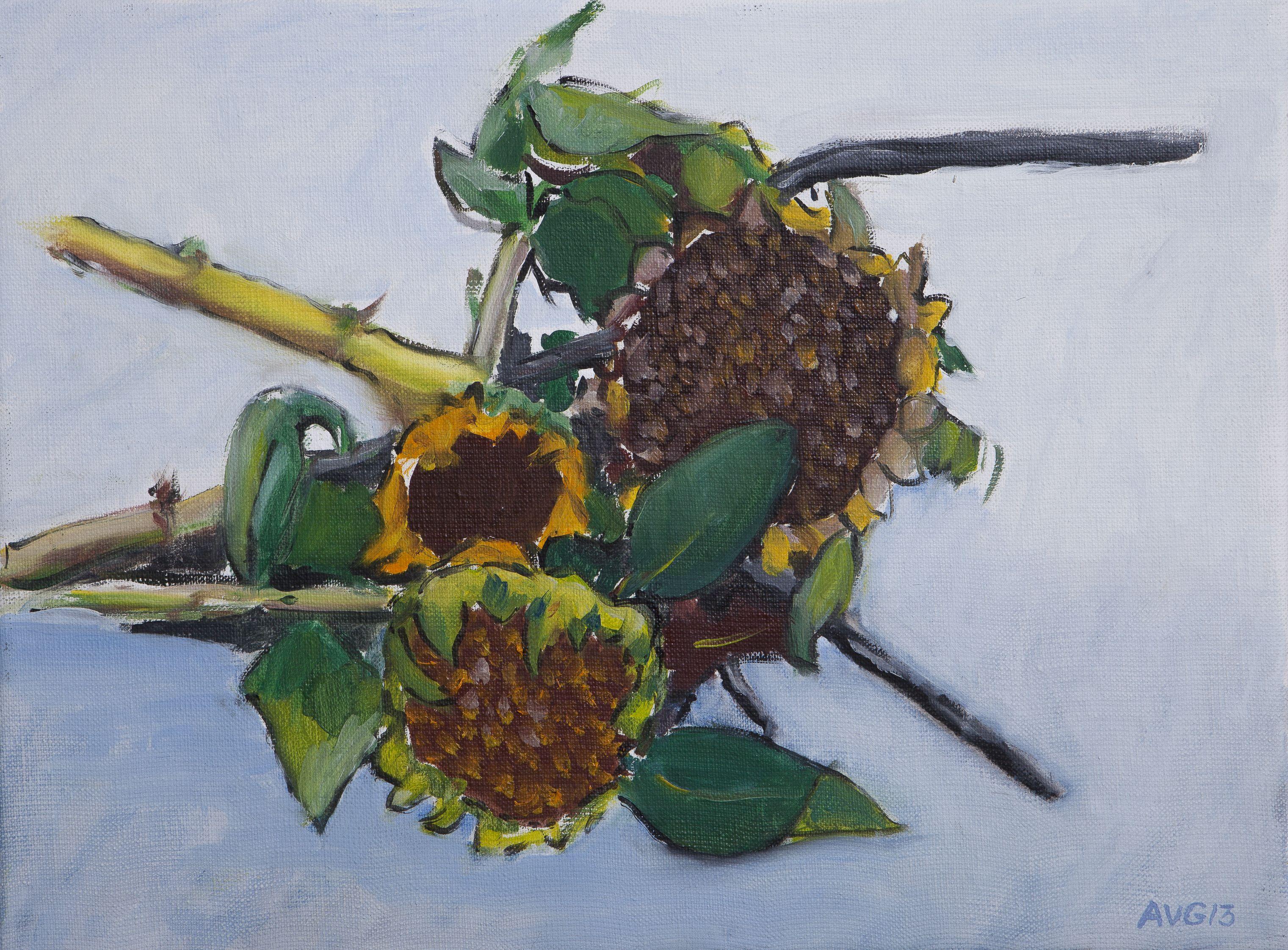 Sunflower still 30x40 cm acrylic canvas. Anthony van Gelder Pittore