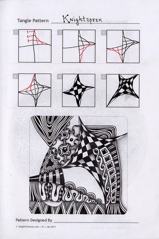 Knightspeek Zentangle Doodles How To Tangle Pattern Tutorial
