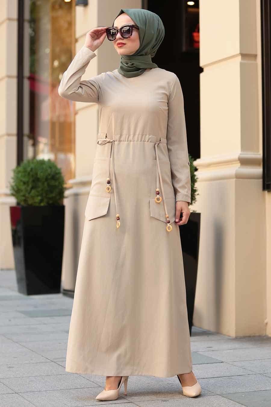 Neva Style – Cepli Bej Tesettür Elbise 4278BEJ – Tesetturisland.com