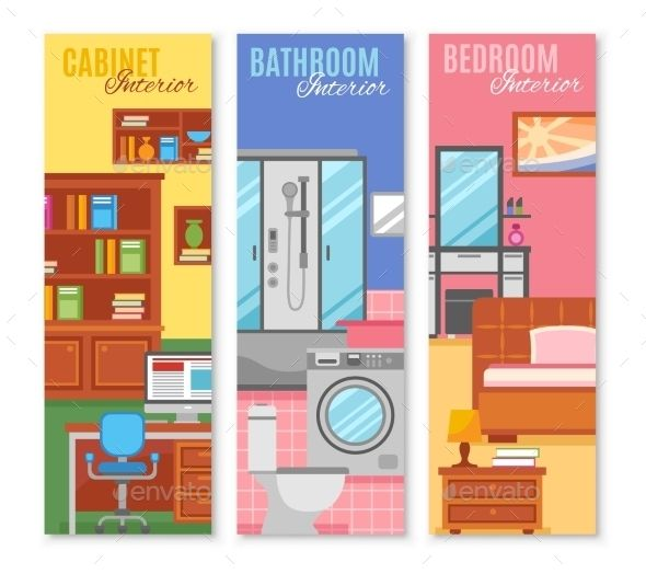 Room Furniture Banner Set | Fonts-logos-icons | Furniture ...