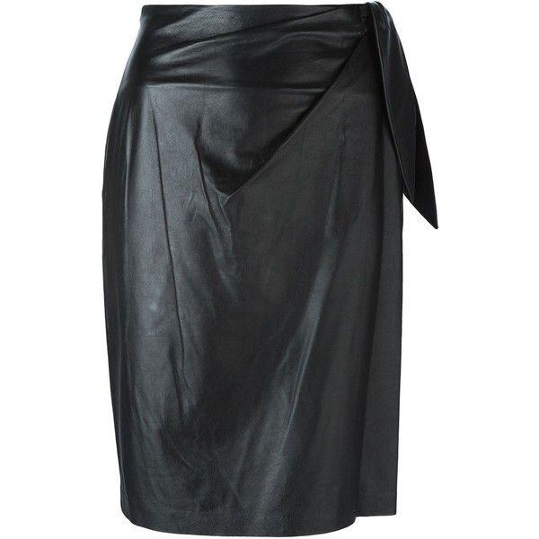 Diane Von Furstenberg 'Roxanne' skirt ($705) ❤ liked on Polyvore featuring skirts, black, diane von furstenberg, black skirt, diane von furstenberg skirts and black knee length skirt