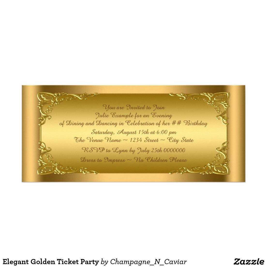 Elegant Golden Ticket Party Card | Golden ticket, Birthday party ...
