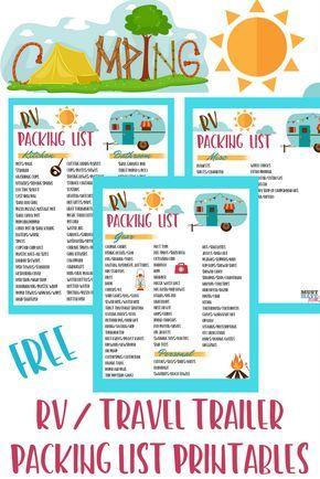 Free RV Checklist Printable Packing List Rv checklist, Camping - packing checklist template