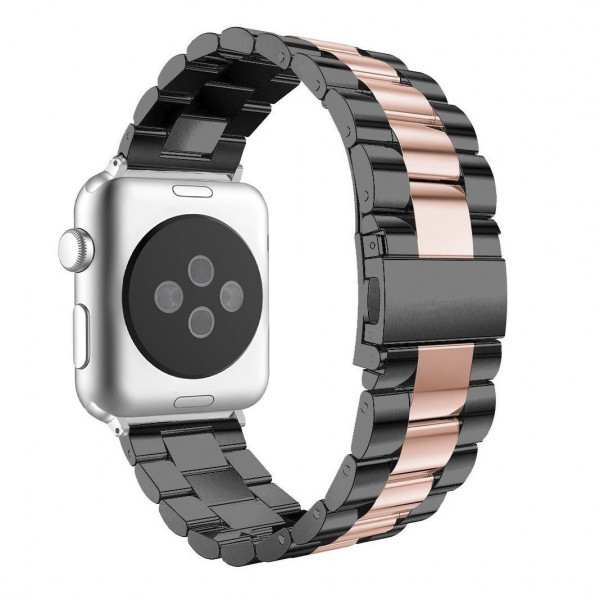 Aviato Apple Watch Premium Edelstahl Armband 42 44 Mm Schwarz Rose Edelstahl Armband Armband Leder Edelstahl