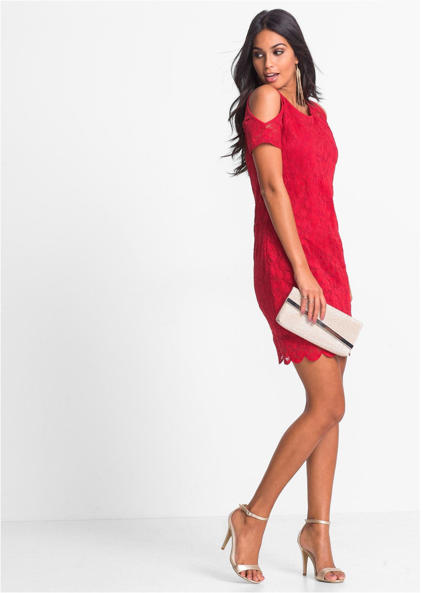 spitzenkleid mit cut out rot bodyflirt jetzt im online shop von ab 25 99. Black Bedroom Furniture Sets. Home Design Ideas