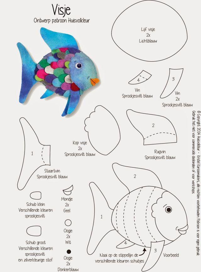 Mooiste Vis Van De Zee Niels Holgersson En Een Gratis Patroon Huisvolkleur Regenbogenfisch Fisch Vorlage Filz Spielzeuge