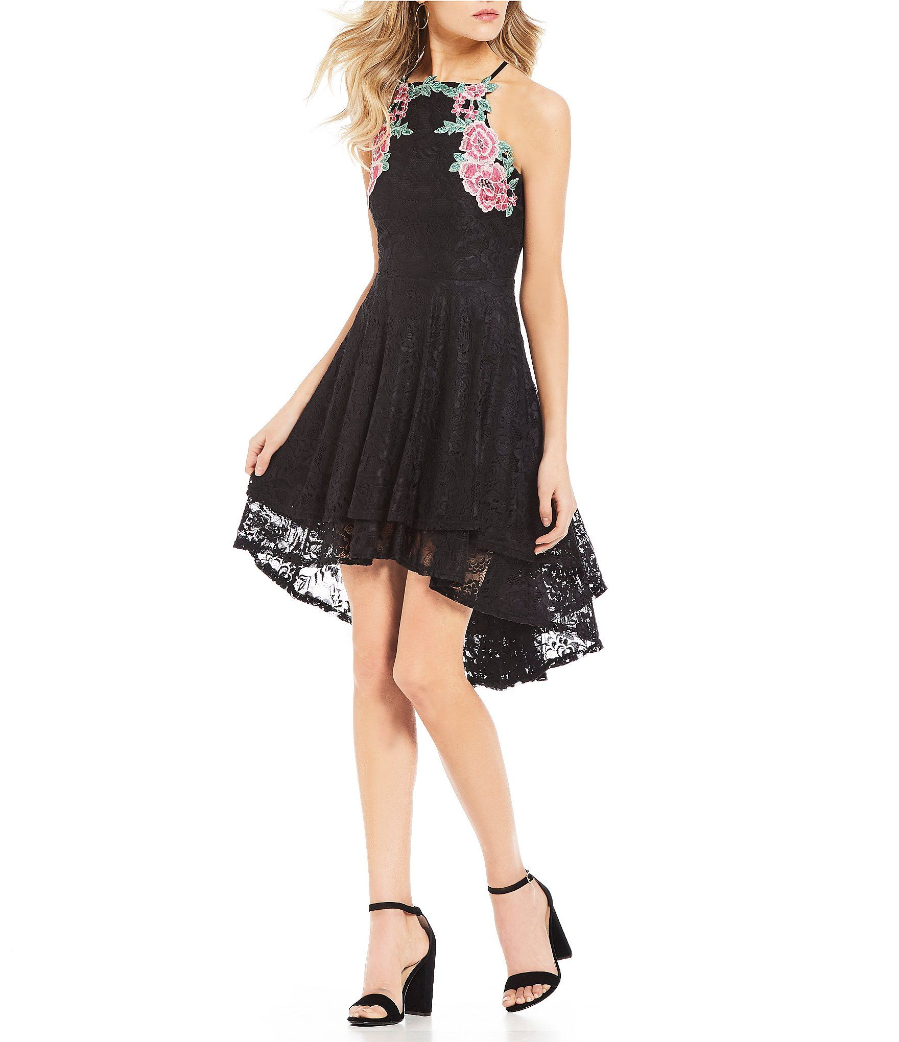 Shop for jodi kristopher floral embroidered lace highlow dress at