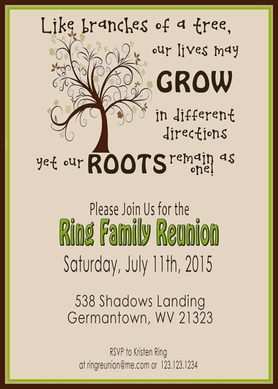 Family Reunion Invite Swirly Tree PRINTABLE by 2LittleDunn