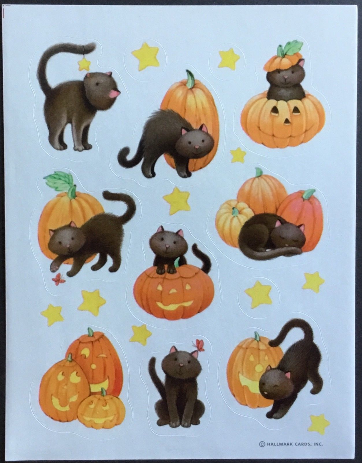Hallmark Sheet of Vintage Stickers Mint Condition!! Halloween