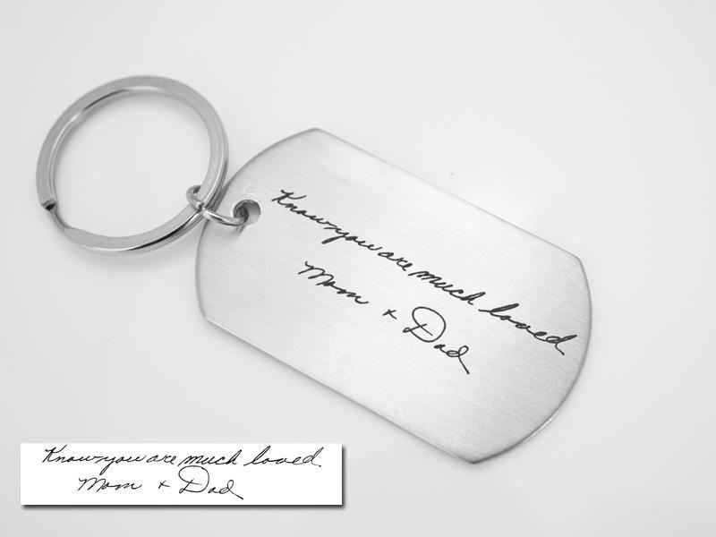 Handwriting Dog tag KeyChain,Signature Dog tag KeyChain,Personalized Engraved Keychain,Silver Keychain,Custom Keychain,Keepsake