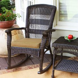 Tortuga Outdoor Portside Dark Roast Wicker Patio Rocking Chair Psr P