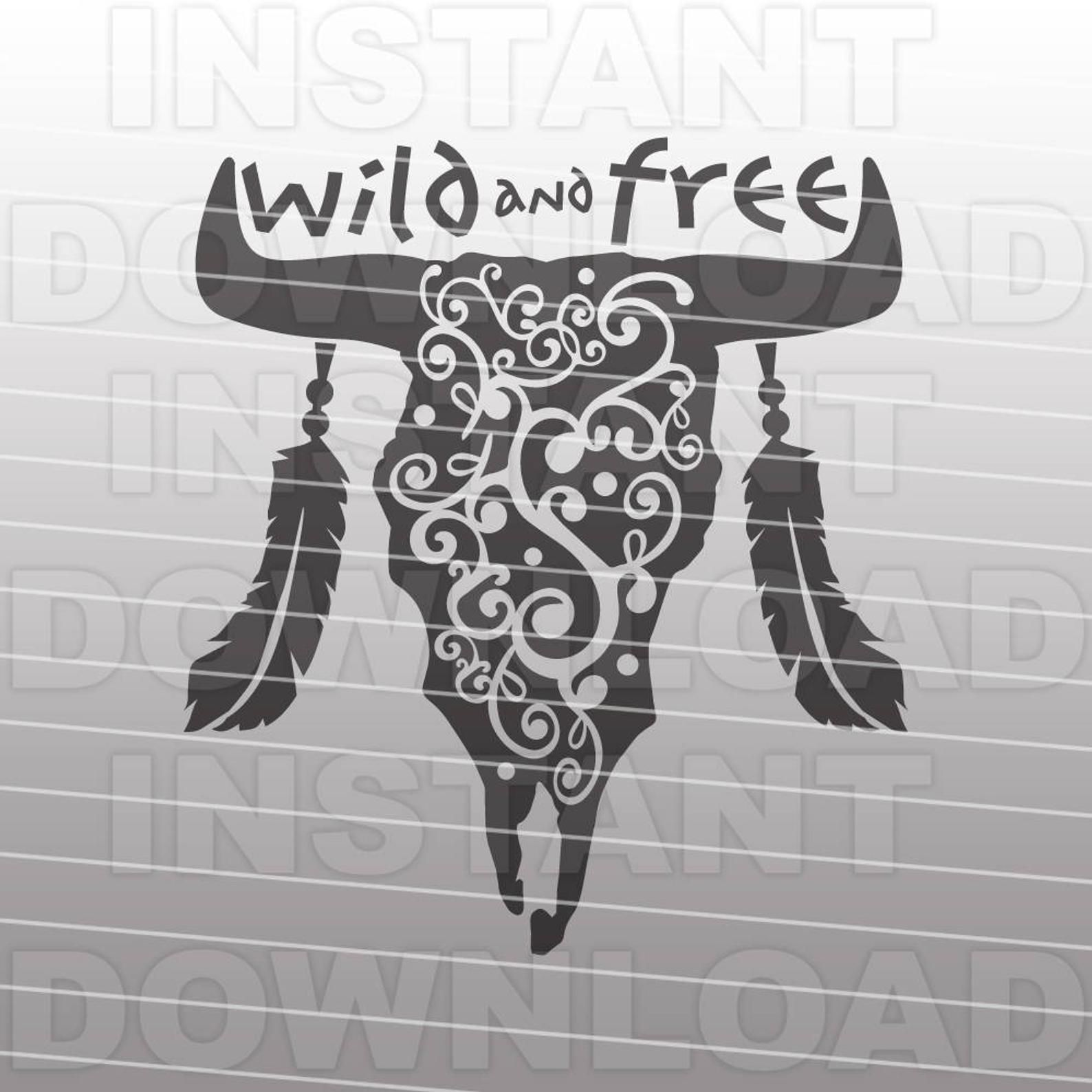 Western SVG File,Wild and Free SVG File,Cow Skull SVG File