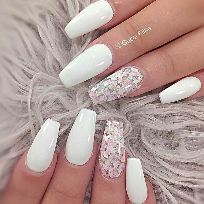 33 Fancy White Coffin Nails Designs | Pinterest | White coffin nails ...