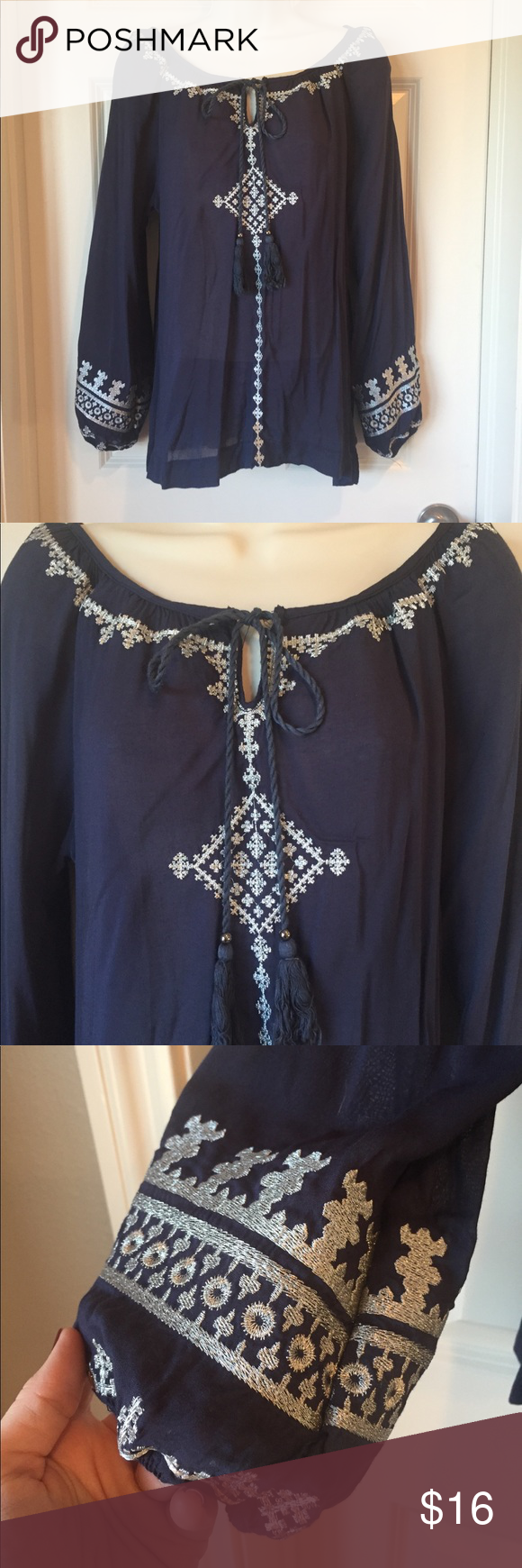 Urban Mango Navy embroidered top size M Only worn a few times great top, navy blue with silver embroidered details size m urban mango Tops Blouses