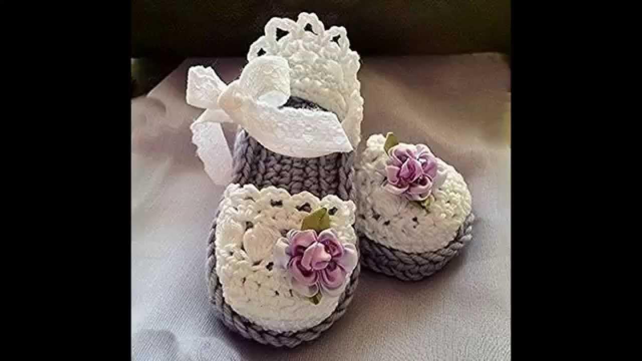 Sandalias de crochet de bebé. Crochet baby sandals, crochet booties ...