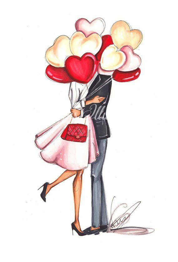 Photo of Valentines Day, Printable Art, Fashion Illustration, Valentines art, French Bulldog, Instant Download, Fashion Wall Art, Valentines gift