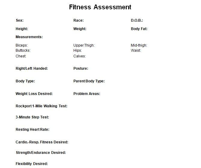 Fitness Assessment Check List For Personal Trainers To Record Your