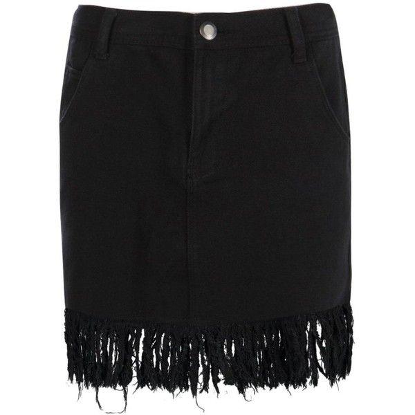 Boohoo Kelly Denim Fray Tassel Hem Mini Skirt | Boohoo ($21) ❤ liked on Polyvore featuring skirts, mini skirts, denim mini skirt, circle skirt, short denim skirts, pleated maxi skirt and short skirts