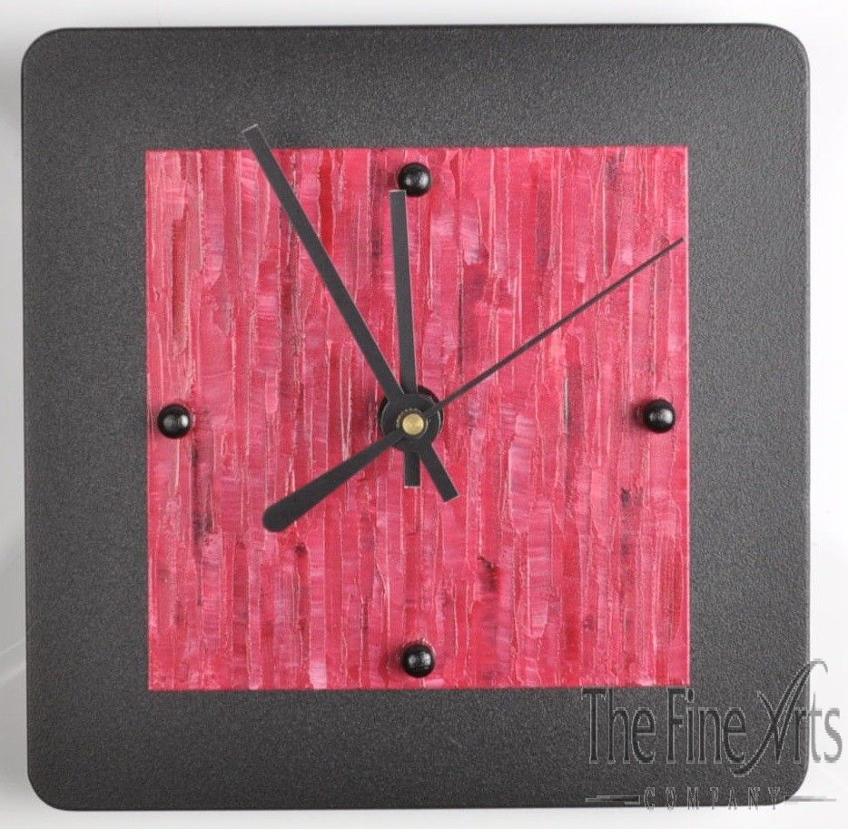 Beautiful crimson red and black clock, handmade in American by Linda Lamore. Perfect for the home or office.