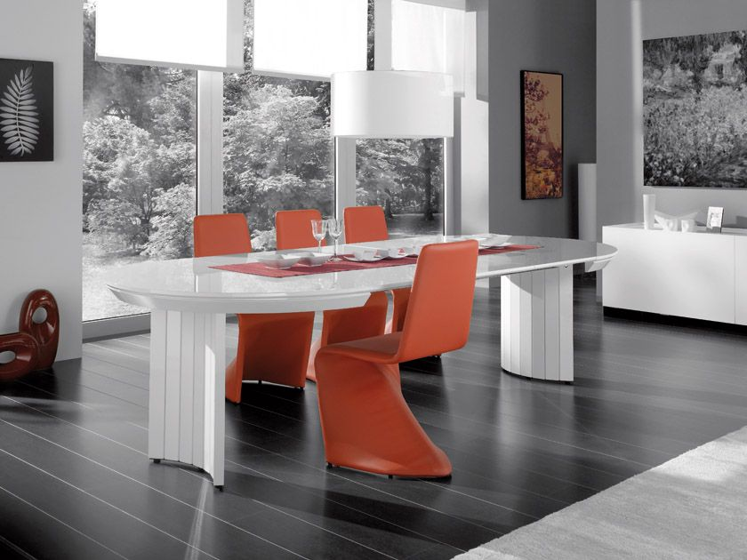 Extendable Contemporary White High Gloss Dining Table