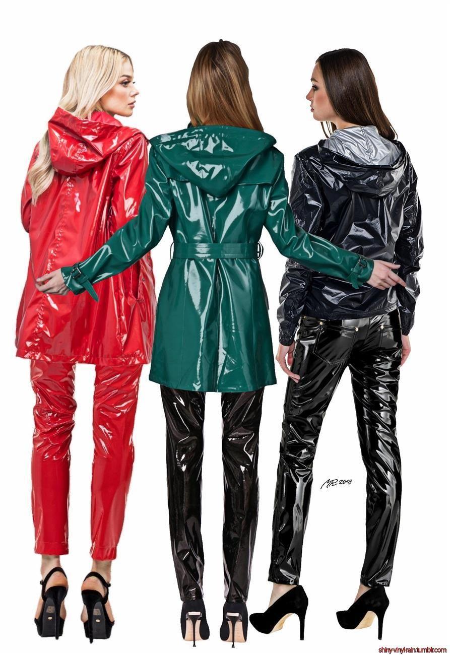Modern Girl Rain Mac Plastic PVC Clothing Shiny Rain Coat Outfit