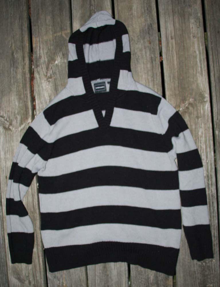 Women's Bobbie Brooks Hoodie Sweater Striped Size L Black and Grey #BobbieBrooks #Hooded