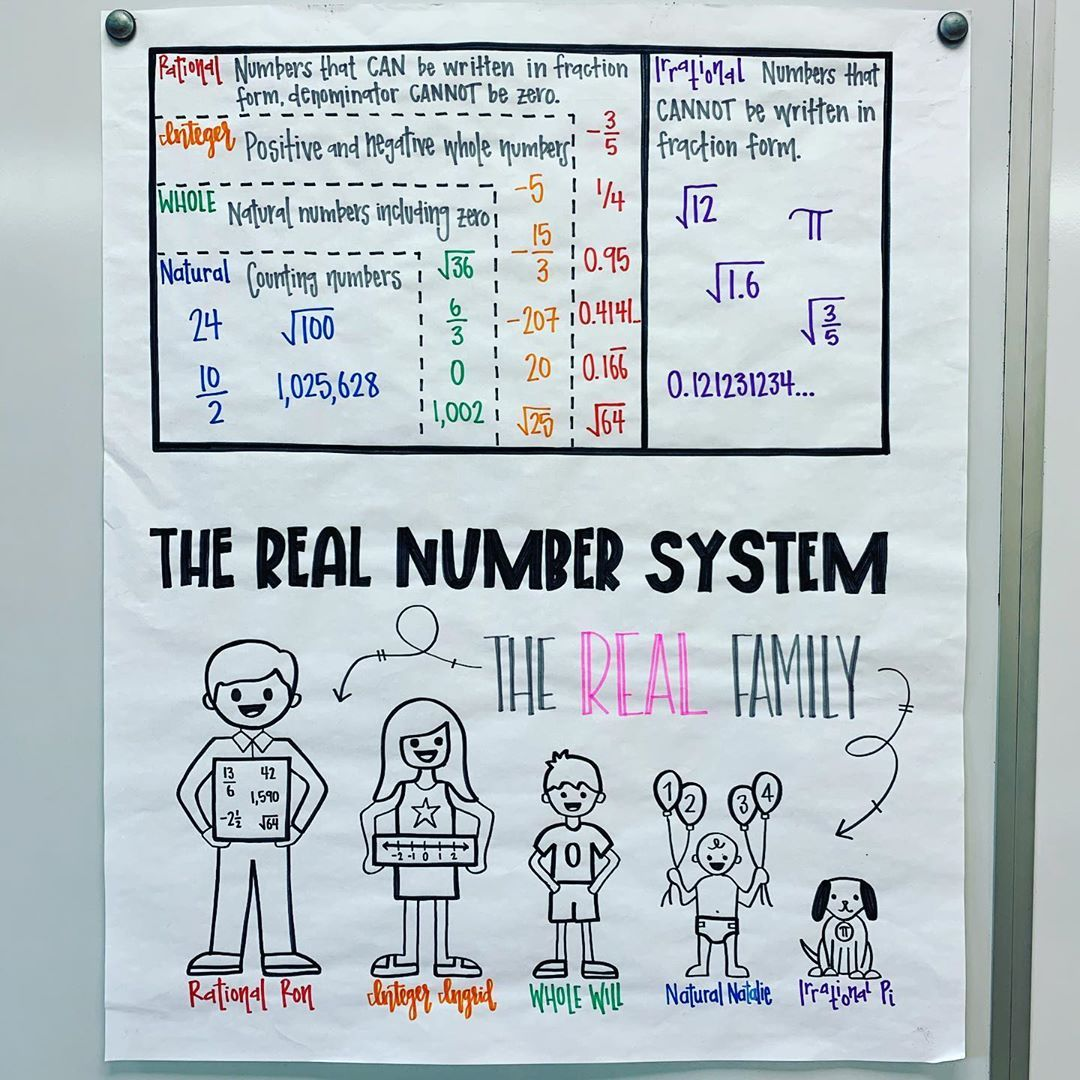 Real Number System Anchor Chart [ 1080 x 1080 Pixel ]