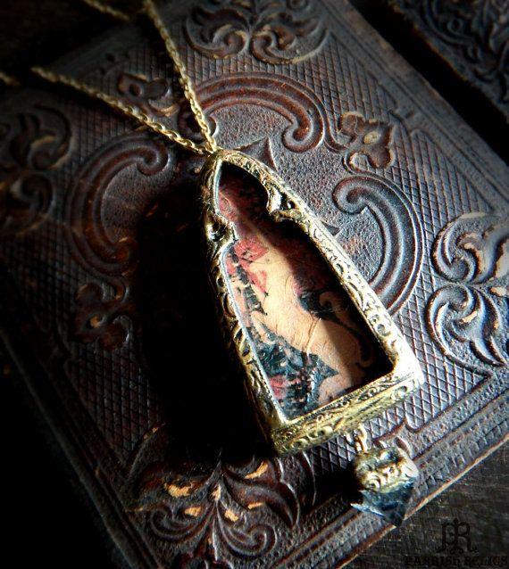 Unicorn Tapestry Pictorial  Quartz Pyramid Amulet by ParrishRelics