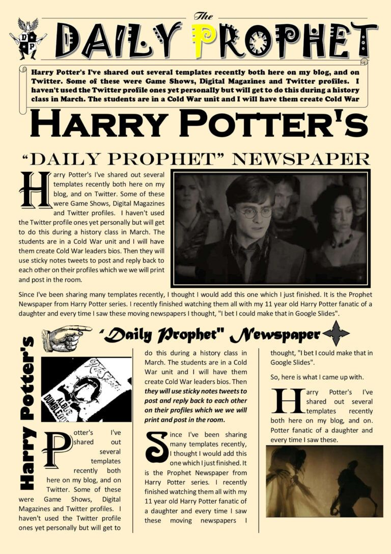 Newspaper Article Template Google Docs Harry Potter Daily